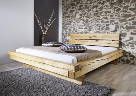 Bett Balkenbett Doppelbett 200x200 cm Wildeiche massiv Balken Schlafzimmer