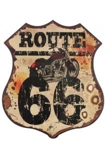 Metallschild Route 66 Mehrfarbig