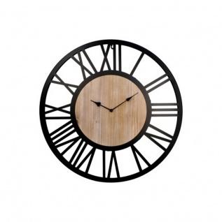 Wanduhr Uhr Metall Schwarz + Holz 60cm