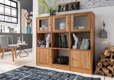 Regal mit Türen Regalkombination Sideboard Anrichte Highboard Wildeiche massiv