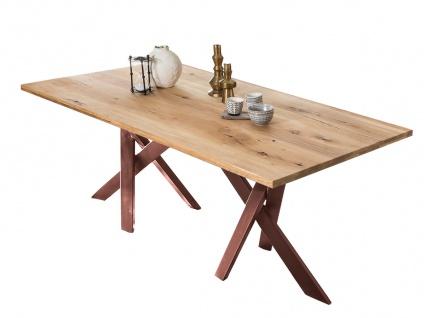 TABLES&Co Tisch 240x100 Wildeiche Natur Metall Braun