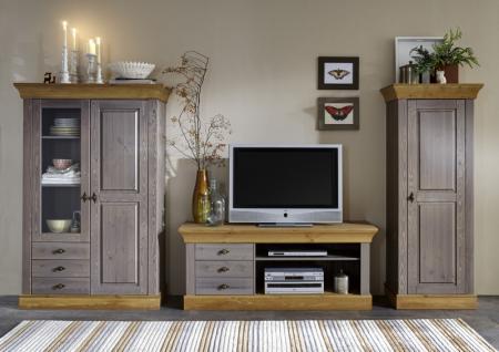 Wohnwand Wohnzimmer Set Wohnzimmerset Kiefer massiv grau laugenfarbig - Vorschau 1