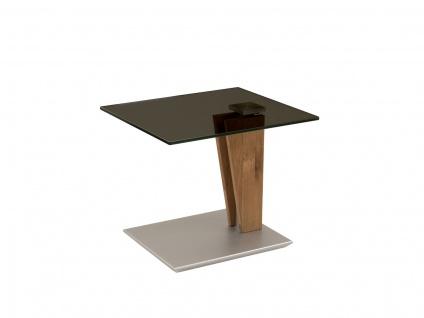 Couchtisch Beistelltisch Glas, Holz und Metall 47x55 cm