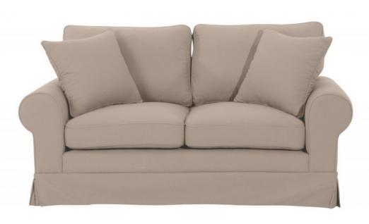 Sofa Polstersofa Couch 2-Sitzer Leinenoptik romantisch Volant Kedernaht Landhaus