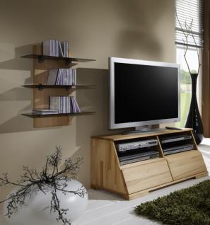 Wohnwand TV-Board Wandpaneel Kernbuche massiv gewachst CD-Regal Lowboard Set