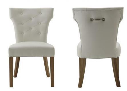 Polsterstuhl 2er Set Stuhl Esszimmerstuhl Leder weiß Knopfheftung Metallgriff