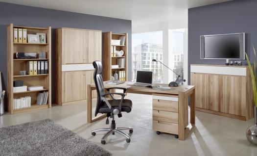 Büro Arbeitszimmer Set Kernbuche massiv geölt made in Germany Lack weiß