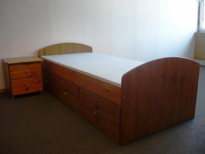 Bett mit Nachtkommode Set Einzelbett Schubladen Kiefer massiv honig lackiert
