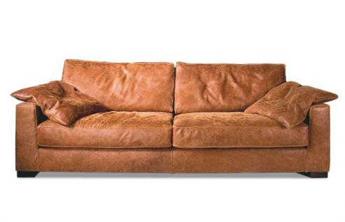 Sofa 4 Sitz Ledersofa Couch walnuss Leder Anilinleder naturbelassen gewachst