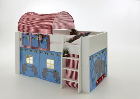 Hochbett Kinderbett Zirkus blau Tunnel Vorhang Kinderzimmer Kiefer massiv