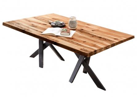 TABLES&CO Tisch 220x100 Balkeneiche Natur Metall Schwarz