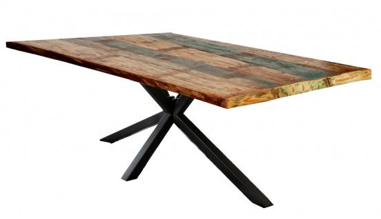 TABLES&Co Tisch 200x100 Altholz Bunt Metall Schwarz