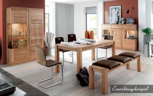 Freischwinger Stuhl Set Stühle Ledersitz Echtholzfunier Eiche geölt gepolstert - Vorschau 3