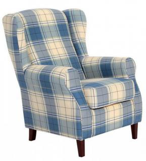 Ohrensessel Sessel Ohrenbackensessel Karo Muster Textilsessel Kedernaht - Vorschau 2