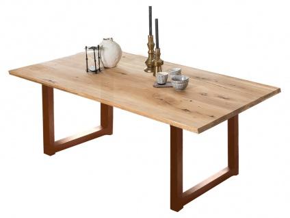 TABLES&Co Tisch 180x100 Wildeiche Natur Metallgestell Braun