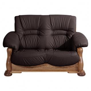 Tennessee Sofa 2-Sitzer Echtleder Braun Eiche rustikal