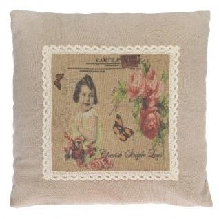 Kissen Flower Girl Postcard Baumwolle&Polyester Bunt