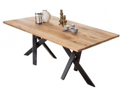 TABLES&Co Tisch 220x100 Wildeiche Natur Metall Schwarz