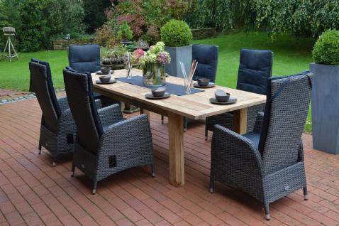 Gartengruppe Garten-Set 7-teilig Gartenmöbel Outdoor Teakholz Kunststoffrattan