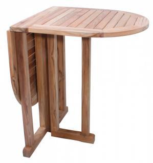Balkontisch Gartentisch klappbarer Tisch Holztisch Klapptisch oval Teakholz