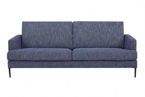 Sofa 3-Sitzer Metall Schwarz Strukturstoff Blau