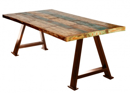 TABLES&CO Tisch 180x100 Altholz Bunt Metall Braun