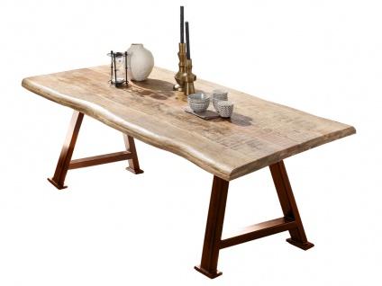 TABLES&Co Tisch 200x100 Mangoholz Natur Metallgestell Braun