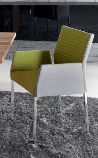 Stuhl Esstimmerstuhl Mit Armlehnen Stoff Vierkant Grau Gelb
