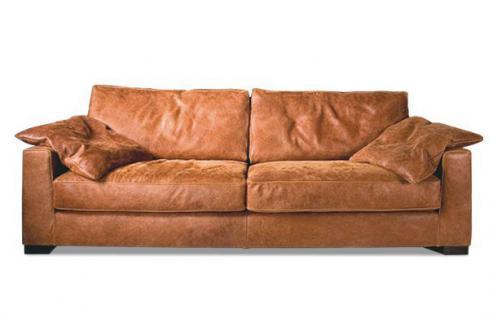 Sofa 2 1/2 Sitz Ledersofa Couch walnuss Leder Anilinleder naturbelassen gewachst - Vorschau 1