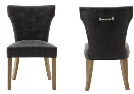 Polsterstuhl 2er Set Stuhl Esszimmerstuhl Leder grau recycelt Knopfheftung - Vorschau