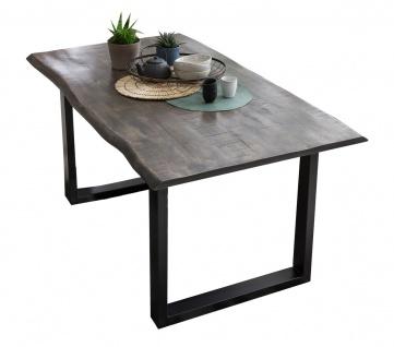 TABLES&CO Tisch 160x85 Mango Natur/Grau Stahl Schwarz
