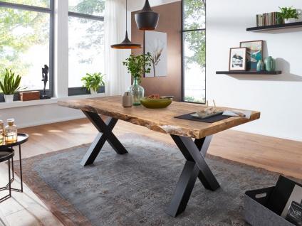 Tisch 160x90 Mango Natur X-Fuß Schwarz