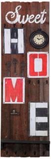 Wandpaneel Home Altholzlook Uhr massiv Tafel Haken Woody Notizklemme Ablage