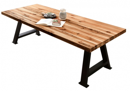 TABLES&CO Tisch 240x100 Balkeneiche Natur Metall Schwarz