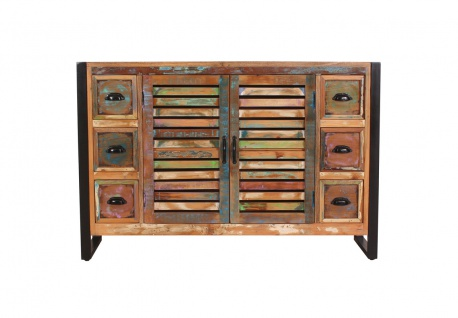 FIUME Sideboard Recyceltes Altholz Metall Bunt