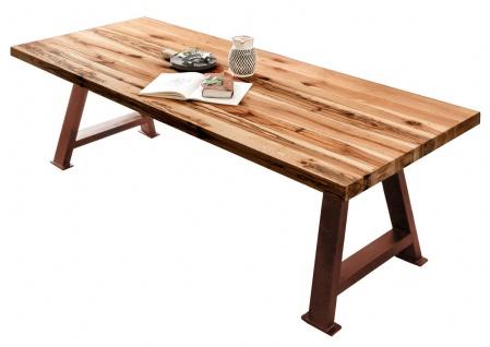 TABLES&CO Tisch 240x100 Balkeneiche Natur Metall Braun