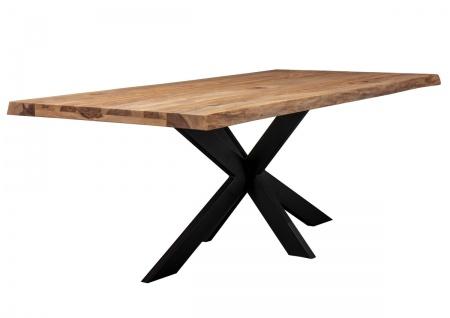 Tisch 200x100 Akazie Natur Doppel X-Fuß Schwarz