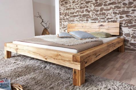 Bett Doppelbett Balkenbett Wildeiche massiv Schlafzimmer Balken rustikal 180x200