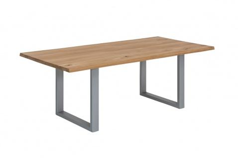 TISCHE&BÄNKE Tisch 160x90 Wildeiche Metall Natur Antiksilber