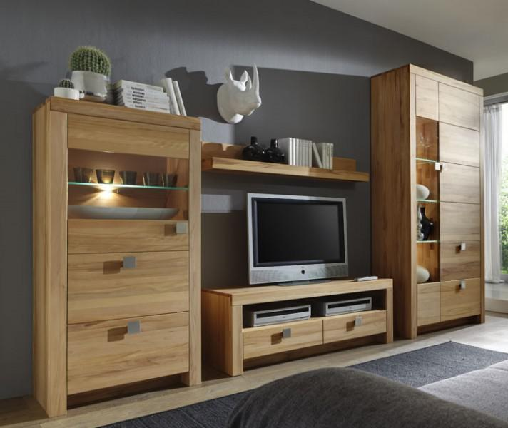 wohnwand wohnzimmer set tv wand wohnzimmerwand wohnzimmer kernbuche massiv ge lt kaufen bei. Black Bedroom Furniture Sets. Home Design Ideas