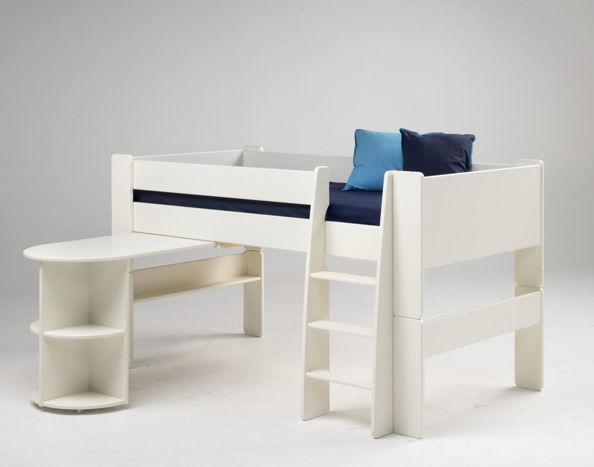 halbhohes bett kinderbett anbauschreibtisch mdf wei. Black Bedroom Furniture Sets. Home Design Ideas