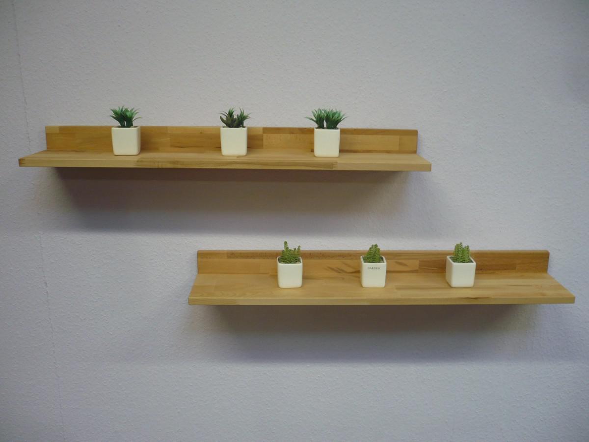 wandboard 2er set wandregal 100 cm regal set h ngeregal kernbuche massiv ge lt kaufen bei saku. Black Bedroom Furniture Sets. Home Design Ideas