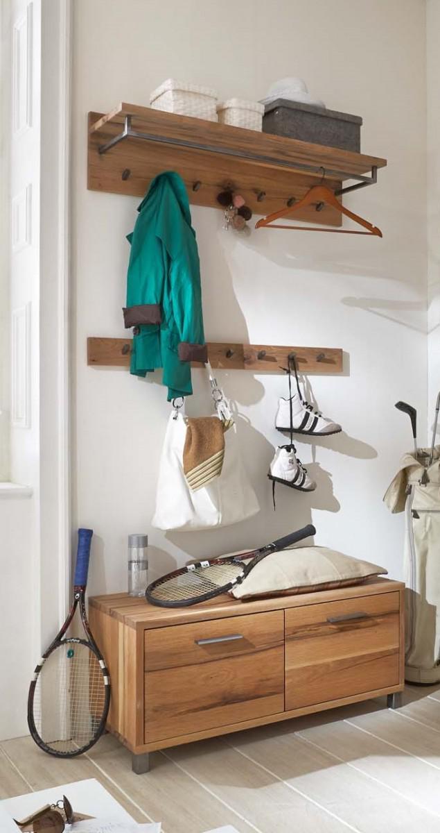 garderobe set garderobenkombi einrichtung balken eiche massiv ge lt wuchsrisse kaufen bei saku. Black Bedroom Furniture Sets. Home Design Ideas