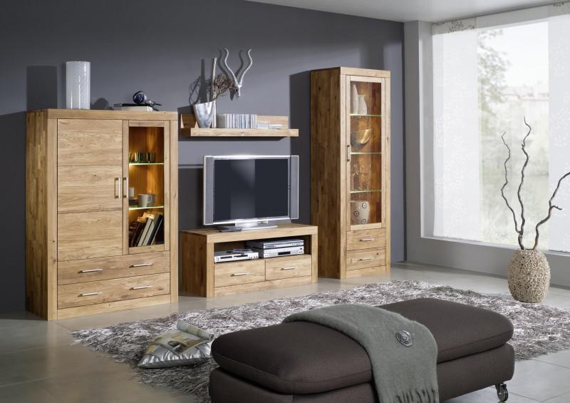 wohnwand anbauwand wohnzimmer 4 teilig wildeiche massiv. Black Bedroom Furniture Sets. Home Design Ideas