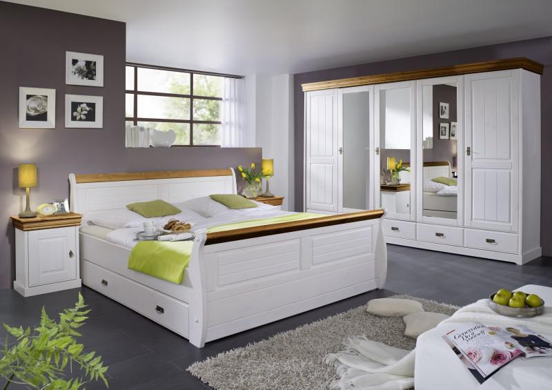 Schlafzimmer komplett Schrank 5türig Bett Landhausstil Kiefer massiv ...