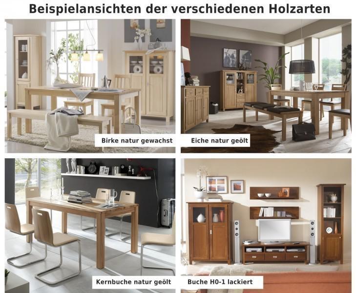 Highboard Vitrinenschrank Sideboard Wohnzimmerschrank Eiche Massiv
