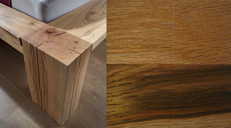 bett 2 nachttische massiv eiche balkeneiche ge lt rustikal mit wuchsrisse kaufen bei saku. Black Bedroom Furniture Sets. Home Design Ideas
