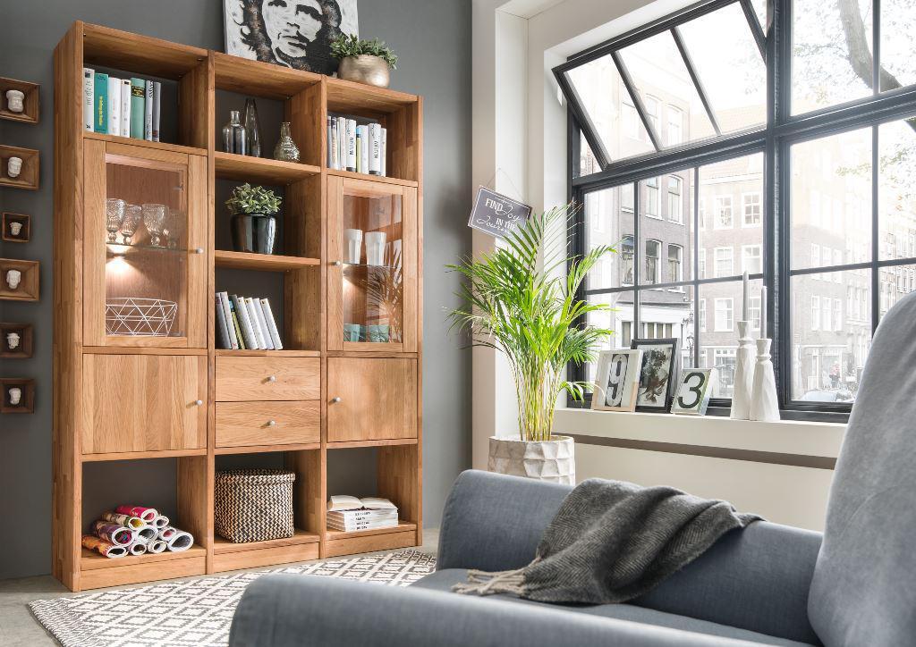 regalkombination anbauwand wildeiche massiv b cherregal mit t ren schubladen kaufen bei saku. Black Bedroom Furniture Sets. Home Design Ideas