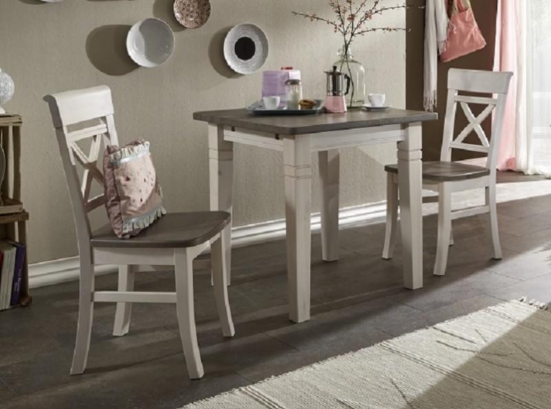 tischgruppe tisch + 2 stühle kleine küche kiefer massiv weiß ... - Küche Kiefer Massiv