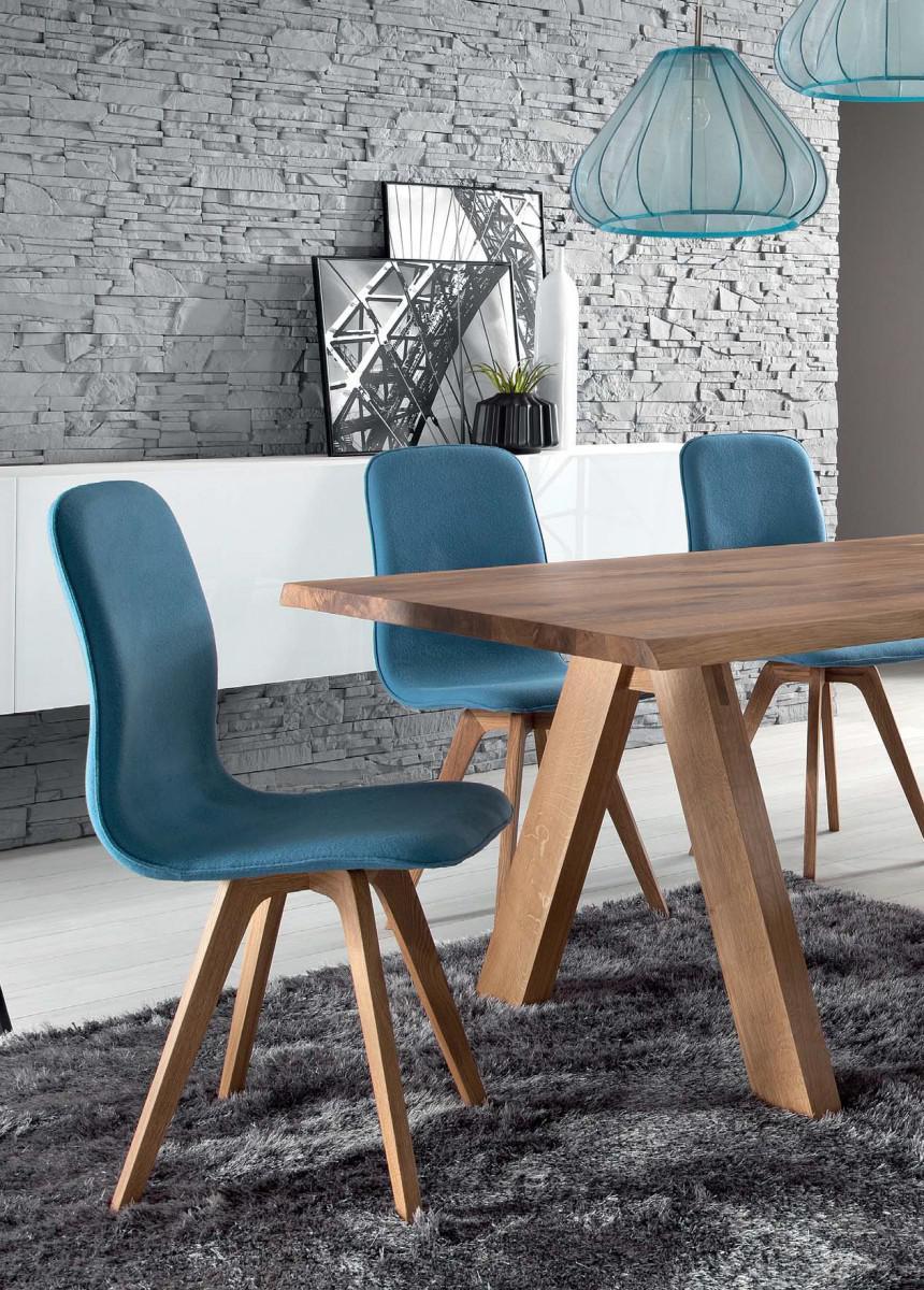 Schalenstuhl Stuhl Blau Eiche Massiv Bezug Kiss Purple 78